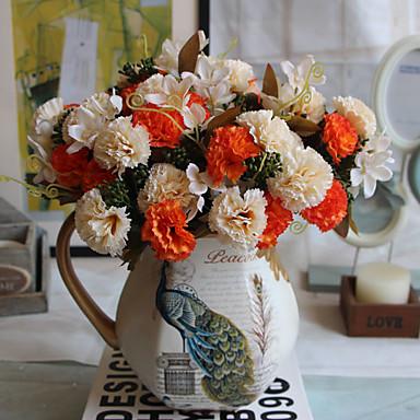 1 Tak Polyester Kunststof Anjer Bloemen voor op tafel Kunstbloemen