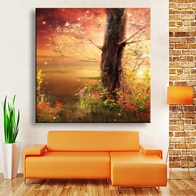 E-HOME® Stretched LED Canvas Print Art Fantasy Jungle LED Flashing Optical Fiber Print One Pcs