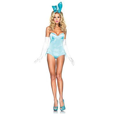 Bunny Piger Cosplay Kostumer Festkostume Kvindelig Halloween Festival/Højtider Halloween Kostumer Sort Blå Ensfarvet