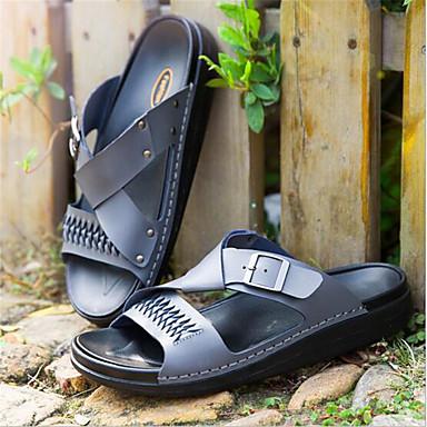 Masculino sapatos Couro Verão Chinelos e flip-flops Para Casual Branco Preto Cinzento