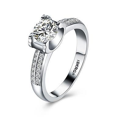 Dames Sterling zilver Zirkonia Kubieke Zirkonia Gesimuleerde diamant Statement Ring Bandring - Luxe Bohémien Liefde Hart Hypoallergeen