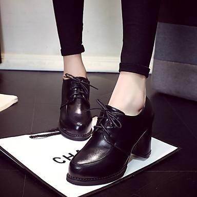 2a8231e43 Mulheres Sapatos Couro Ecológico Outono Conforto Oxfords Caminhada Salto  Robusto / Salto de bloco Cadarço Preto