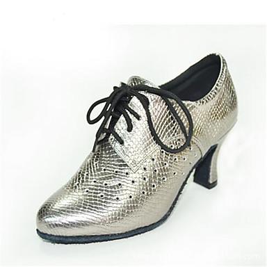 Feminino Sapatos Couro Primavera Outono Oxfords Salto Grosso Cadarço Para Casual Preto Prata Cinzento