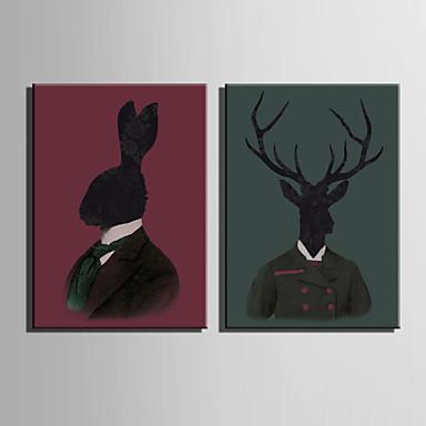 Animal Impressão em tela Dois Painéis Pronto para pendurar , Vertical