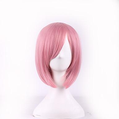 Synthetische Perücken / Perücken Glatt Rosa Bubikopf / Mit Pony Synthetische Haare Seitenteil Rosa Perücke Damen Kurz
