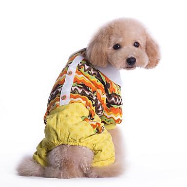 Gato Cachorro Macacão Roupas para Cães Algodão Primavera/Outono Inverno Férias Fashion Riscas Amarelo Azul Para animais de estimação