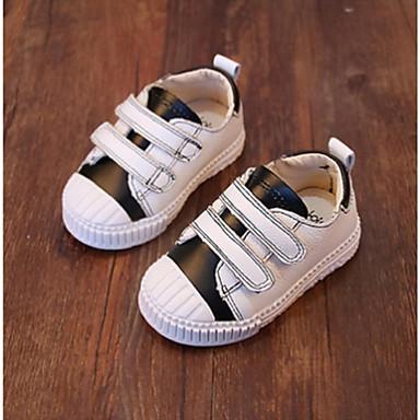 Uniseks Baby Sneakers Leer Herfst Causaal Platte hak Zwart Rood Groen Plat