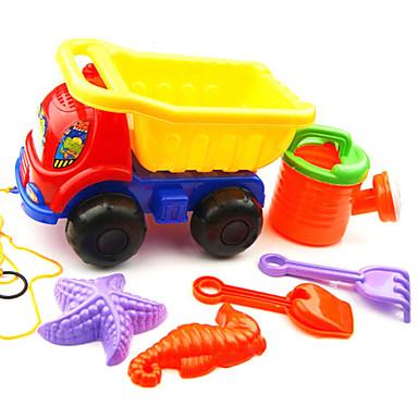 6-חתיכות חוף חול צעצועים משובצים משאית, סיר מים, 2 כלי עבודה 2 דגמים