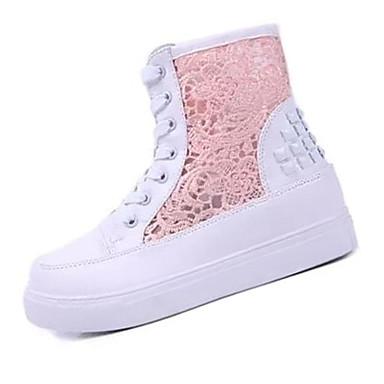 Mulheres Sapatos Couro Ecológico Inverno Saltos Salto Plataforma Cadarço Branco