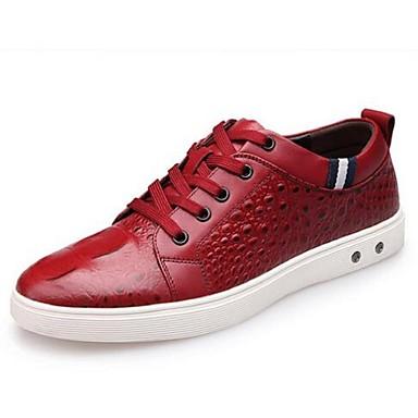 Heren Schoenen Leer Lente Zomer Herfst Sneakers Voor Causaal Zwart Rood