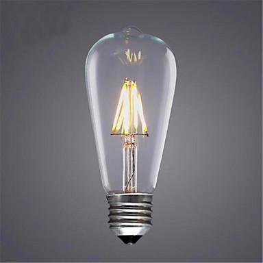 1pc 4 W 300-350 lm E26 / E27 LED-glødetrådspærer ST64 4 LED Perler COB Dekorativ Varm hvid / Kold hvid 220-240 V / 1 stk. / RoHs
