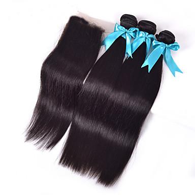 Brasiliansk hår Hårstykke med lukning Ret Hår Ekstensions 4 Dele Sort