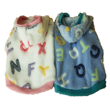 Dog Hoodie Pajamas Dog Clothes Letter & Number Pink Light Blue Flannel Fabric Costume For Pets Men's Women's Cute Casual/Daily