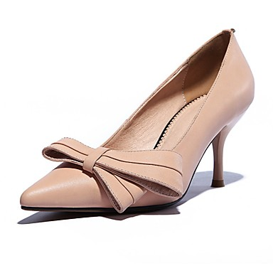 Feminino Sapatos Couro Ecológico Primavera Outono Saltos Salto Agulha Para Casual Preto Amêndoa