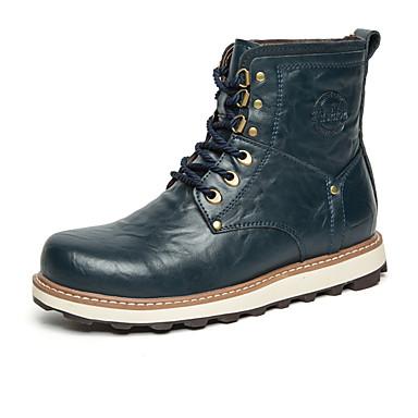 Heren Schoenen Leer Lente Zomer Herfst Winter Enkellaarsjes Modieuze laarzen Laarzen Veters Voor Causaal Zwart Geel Bruin Blauw