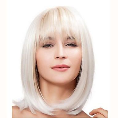 Syntetiske parykker Rett Blond Bobfrisyre / Med lugg Syntetisk hår Med Bangs Blond / Hvit Parykk Dame