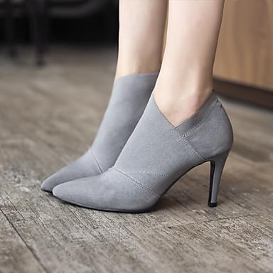 Feminino Sapatos Couro Ecológico Inverno Outono Curta/Ankle Botas Salto Agulha Para Casual Preto Cinzento