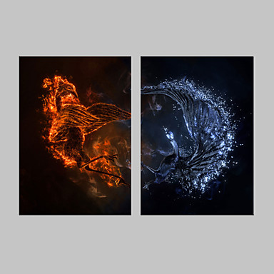 Stretched Canvas Print Animals Fantasy Two Panels Vertical Print Wall Decor Home Decoration