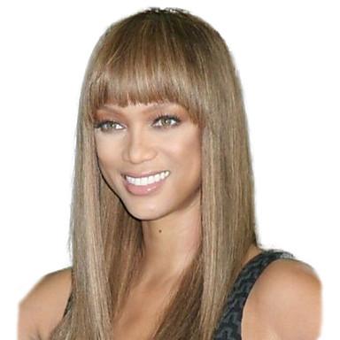 Frauen lange gerade synthetische Haarperücken voller Knall braun hitzebeständige Faser preiswerte cosplay Partei Perücke Haar