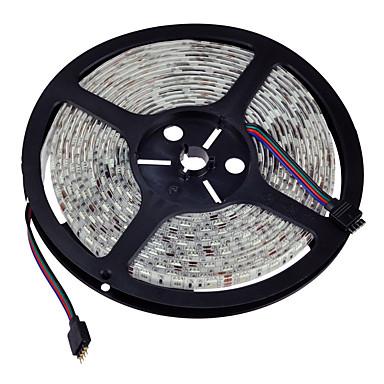 5 m RGB-lysstriper 300 LED 5050 SMD RGB Vanntett / Kuttbar / Mulighet for demping 12 V / IP65 / Koblingsbar / Fargeskiftende