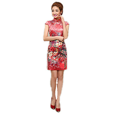 Tradisjonell Dame Kjoler Blyantkjole A-Line Dress Cosplay Turkis / Rød / Blå Blomstret Kortermet Medium Lengde kostymer