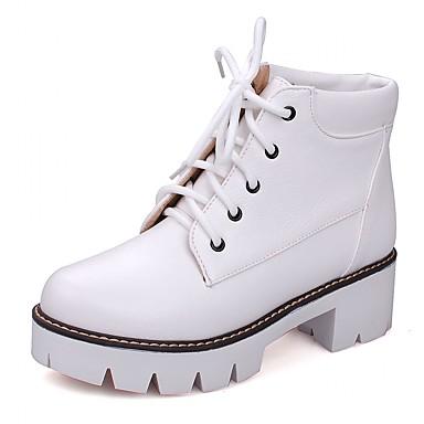 Damen Schuhe Kunststoff / Lackleder / Kunstleder Frühling / Winter Neuheit High Heels Walking Blockabsatz / Block Ferse Schnürsenkel Weiß