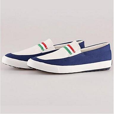 Loafers og Slip-ons-Kanvas-Lukket tå-Herre-Blå / Rød / Khaki-Hverdag-Flad hæl