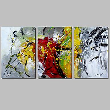 Handgeschilderde Abstract Horizontaal Panoramisch,Modern Europese Stijl Drie panelen Canvas Hang-geschilderd olieverfschilderij For