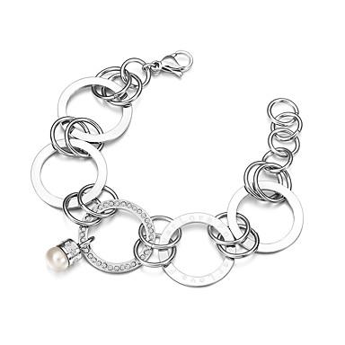 Heren Dames Armbanden met ketting en sluiting Modieus Parel Titanium Staal Cirkelvorm Sieraden Feest Dagelijks Causaal Sport