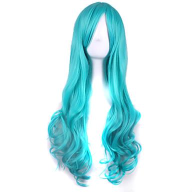 Syntetiske parykker / Kostymeparykker Krøllet / Dyp Bølge Asymmetrisk frisyre Syntetisk hår Naturlig hårlinje Blå Parykk Dame Lang Lokkløs Lyseblå