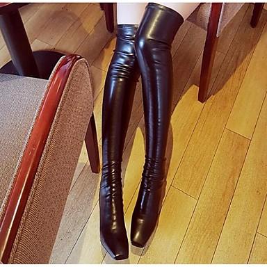 Feminino Sapatos Couro Outono Inverno Botas da Moda Botas Anabela Para Preto