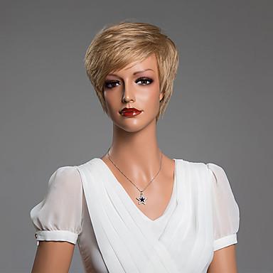 peruca curta reta única sem tampa com franja do cabelo humano de 10 polegadas