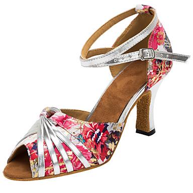 Damen Schuhe für den lateinamerikanischen Tanz / Salsa Tanzschuhe Satin Sandalen / Absätze Schnalle / Rüschen / Blume Maßgefertigter