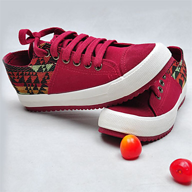 Dames Sneakers Herfst Comfortabel Canvas Casual Platte hak Veters Rood Blauw