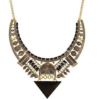 Feminino Colares com Pendentes Forma Geométrica Triangular Gema Chapeado Dourado Liga Moda Europeu Dourado Jóias Para Festa Diário Casual