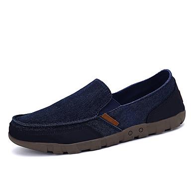 Masculino-Mocassins e Slip-Ons-Conforto-Rasteiro-Azul Marrom Cinza-Tecido-Casual