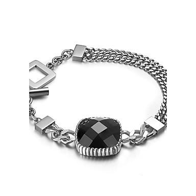 Heren Dames Bedelarmbanden Modieus Titanium Staal Rechthoekige vorm Zilver Sieraden Voor Feest Dagelijks Causaal Sport 1 stuks