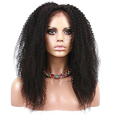 Ekte hår Helblonde Parykk Brasiliansk hår Afro Kinky Curly Parykk 120% Hair Tetthet med baby hår Naturlig hårlinje Afroamerikansk parykk 100 % håndknyttet Dame Kort Medium Lengde Blondeparykker med