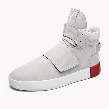 Støvler-KunstlæderHerre-Sort Rød Grå-Fritid-Flad hæl