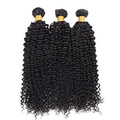 Mongolsk hår Krøllet Menneskehår Vævninger 3 Dele 0.1