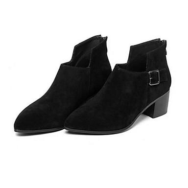 Støvler-Ruskind LæderDamer-Sort-Udendørs-Tyk hæl