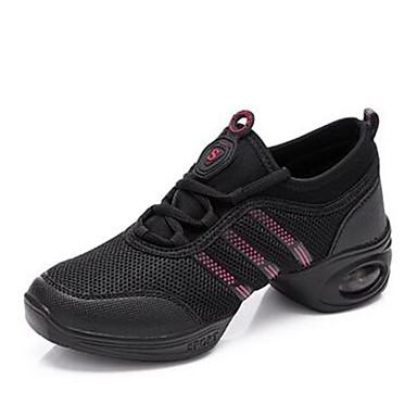 Feminino Sapatos Tule Primavera Outono Tênis Rasteiro Cadarço Para Casual Branco Preto