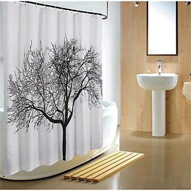 Duschvorhänge Modern Polyester Blumen/Pflanzen Maschinell gefertigt