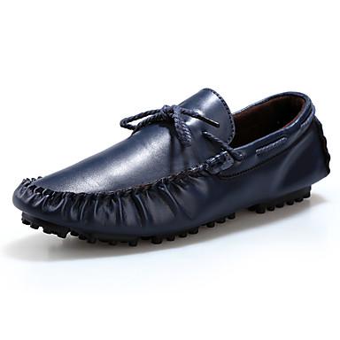 Heren Bootschoenen Herfst Comfortabel Leer Casual Platte hak Zwart Bruin Blauw