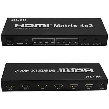 Comutator de matrice hdmi de mare viteză v1.4 4x2 matrice hdmi 4k (4 în 2), cu suport de control la distanță 1080p 3D