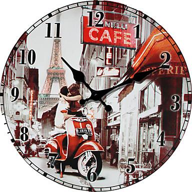 Moderno/Contemporâneo Família Relógio de parede,Redonda Outros 34*34*3cm Interior Relógio