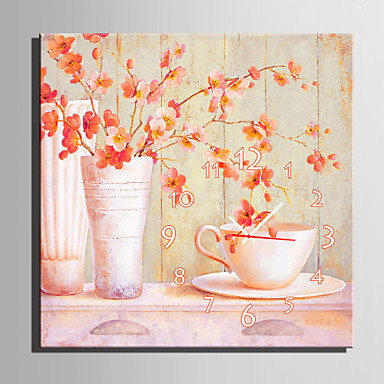 stil modern roz floral ceas de perete din pânză