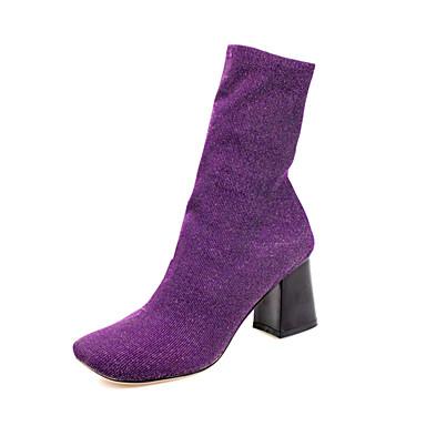 Støvler-Syntetisk-Modestøvler-Dame-Sort Lilla-Formelt Fritid Fest/aften-Tyk hæl