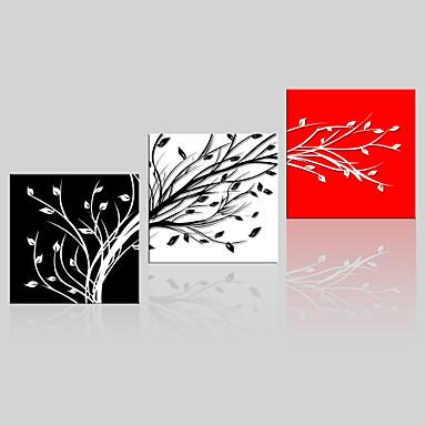 Landschap Bloemenmotief/Botanisch Modern, Drie panelen Kangas Vierkant Print Muurdecoratie Huisdecoratie