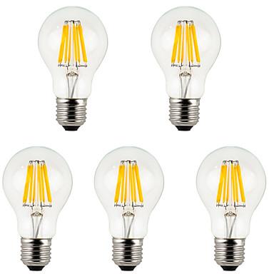 5pcs 800 lm E26/E27 LED-glødepærer A60(A19) 8 leds COB Dekorativ Varm hvit Kjølig hvit AC 85-265V